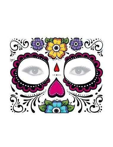 Halloweenská maska s květinami -...