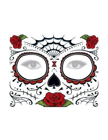 Halloweenská maska s růžemi -...