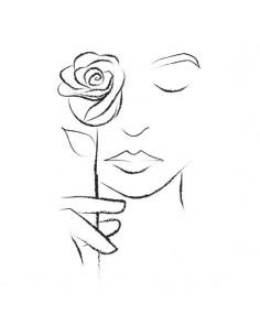 Dívka s růží - nalepovací...