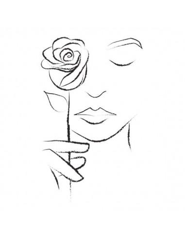 Dívka s růží - nalepovací tetování