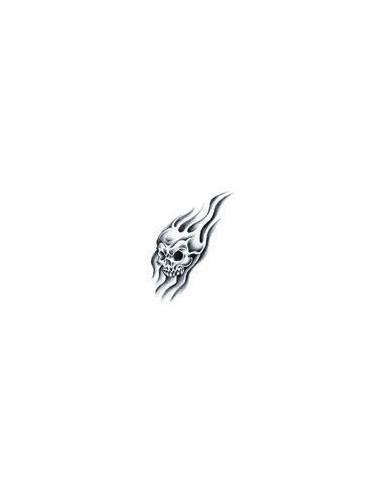 Lebka v plamenech - nalepovací tetování