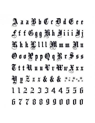Písmena a čísla Old English - velké...