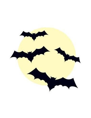 Netopýři a měsíc v úplňku svítící ve...