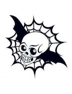Lebka s křídly a pavučinou...