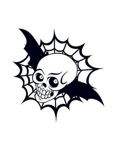 Lebka s křídly a pavučinou svítící ve...