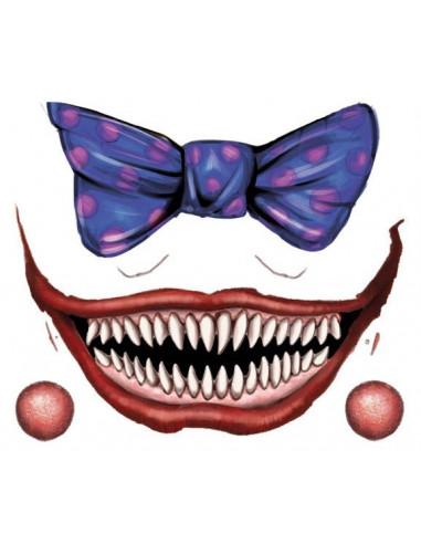 Strašidelný klaunský úsměv a modrý...