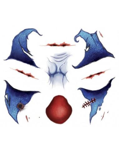 Halloweenský strašidelný modrý klaun...