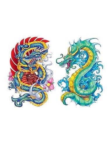 Dva čínští draci - nalepovací tetování