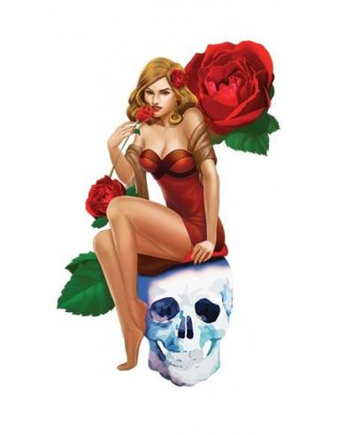 Pin-up girl sedící na lebce s růžemi...