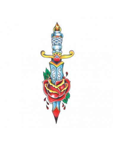 Dýka s růží - velké nalepovací tetování