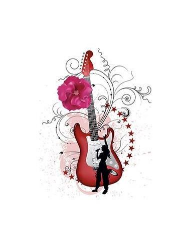 Kytara s květinami - nalepovací tetování