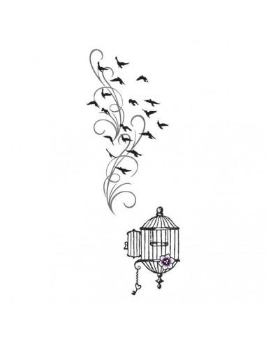 Klec a ptáci - velké nalepovací tetování