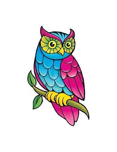 Barevná sova - nalepovací tetování