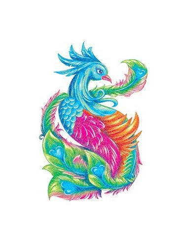 Třpytivý páv - nalepovací tetování