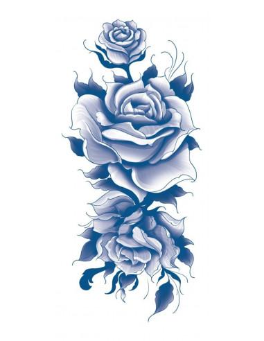 Modré růže - nalepovací tetovací rukáv