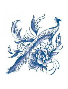 Modrý páv s růžemi -...
