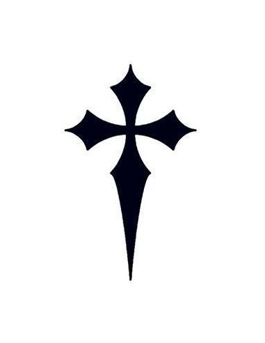 Špičatý černý kříž - nalepovací tetování