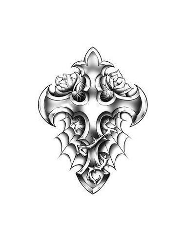 Kříž s růžemi - nalepovací tetování