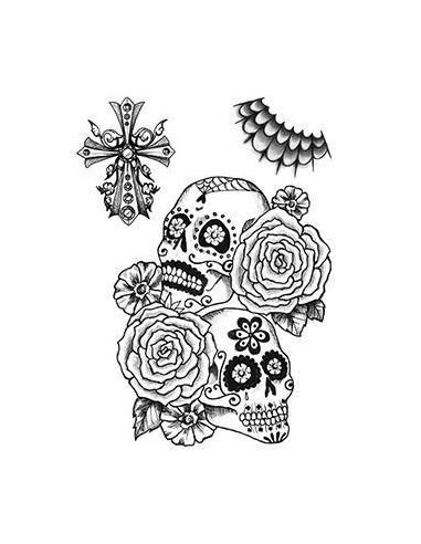 Lebky s růžemi - nalepovací tetování