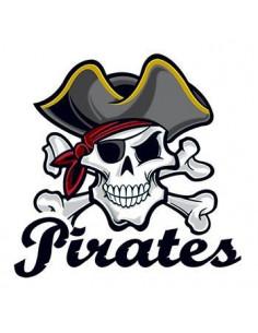 Pirátská lebka s nápisem...