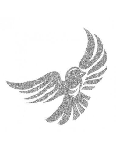 Třpytivý stříbrný ptáček - nalepovací...