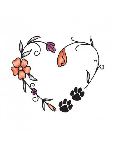 Srdce s květinami a tlapkami -...