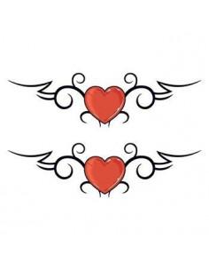 Dvě červená srdce - tribal...