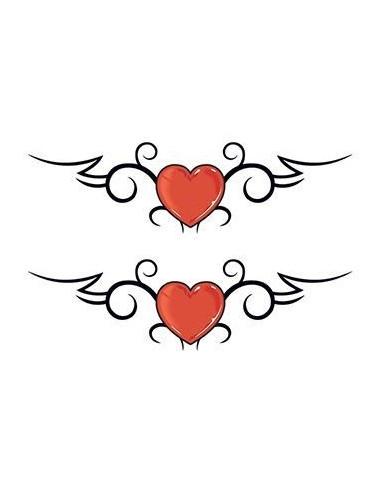 Dvě červená srdce - tribal nalepovací...