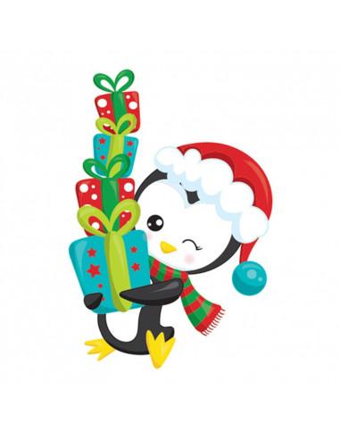 Tučňák s dárečky - vánoční tetovačka...