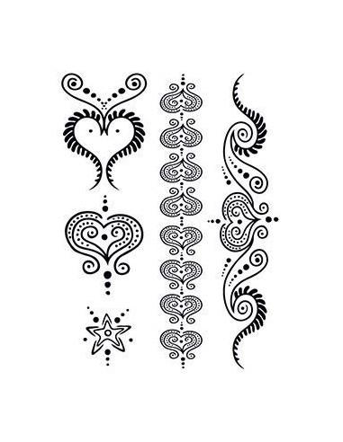 Černá srdce - henna dočasné tetování
