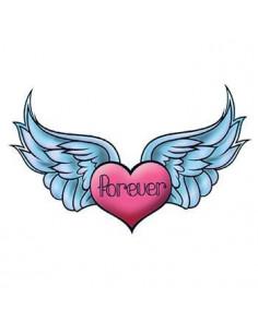 Srdce s křídly a nápisem...