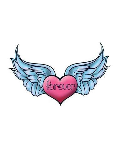 Srdce s křídly a nápisem Forever -...