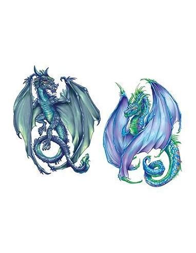 Zelený a modrý drak - dočasné tetování