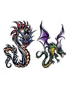 Dva barevní draci v tribal...