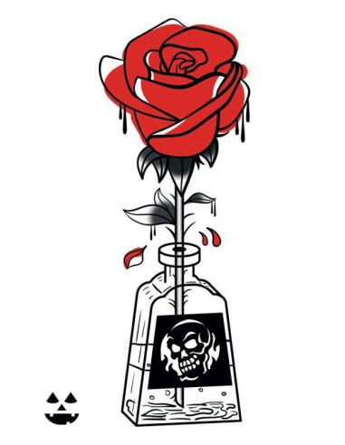 Otrávená růže - nalepovací tetování