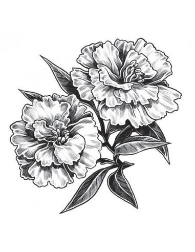 Dva šedé hvozdíky - nalepovací tetování