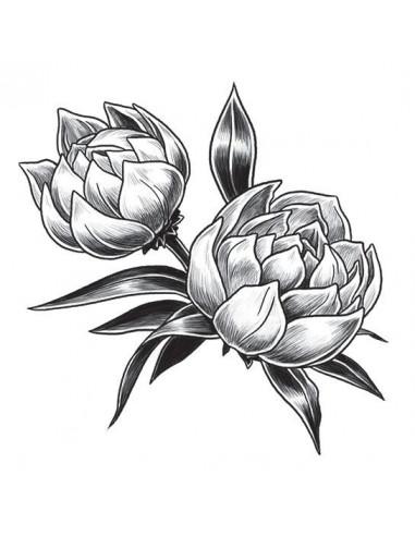 Dva šedé tulipány - nalepovací tetování