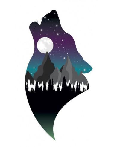 Vlk a noční krajina - dočasné tetování