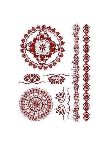 Červené mandaly - henna nalepovací...