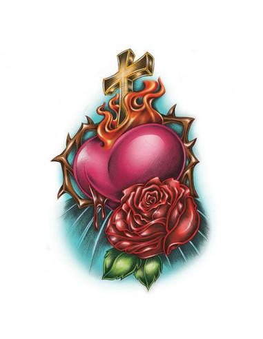 Náboženský motiv kříž, srdce a růže -...