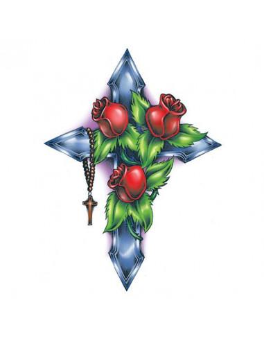 Růže na kříži - velké dočasné tetování