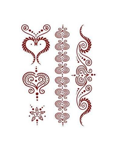 Červená srdce - henna nalepovací...