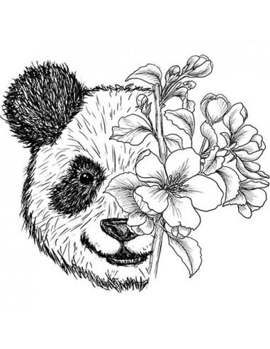 Panda s květinami - nalepovací tetování