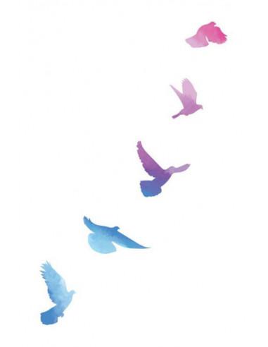 Letící ptáci - watercolor dočasné...