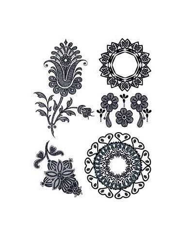 Černé květiny - henna nalepovací...