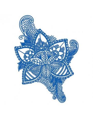 Modrá květina - nalepovací tetování