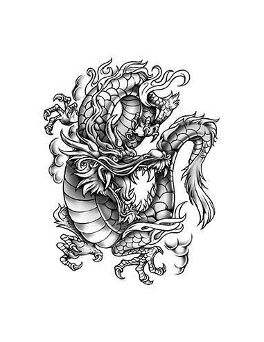Šedý drak - velké nalepovací tetování
