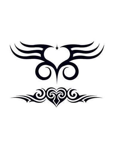 Dvě srdce - tribal nalepovací tetování