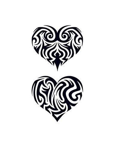 Dvě vyřezávaná srdce - tribal...