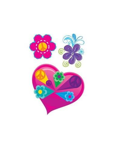 Srdíčko a kytičky - nalepovací tetování
